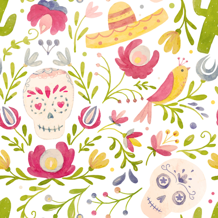 Watercolor vector mexican style pattern Çizim