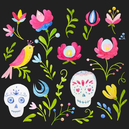 Watercolor mexican style vector set