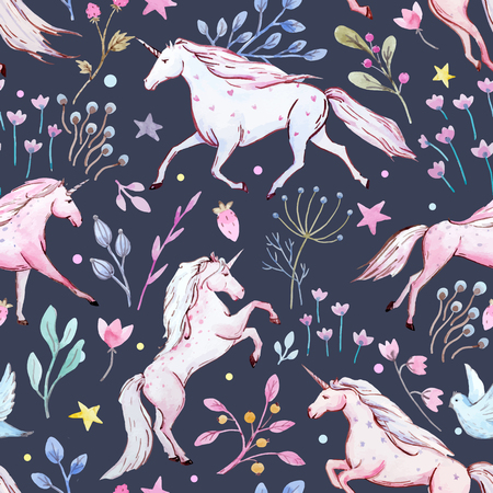 Watercolor unicorn vector pattern