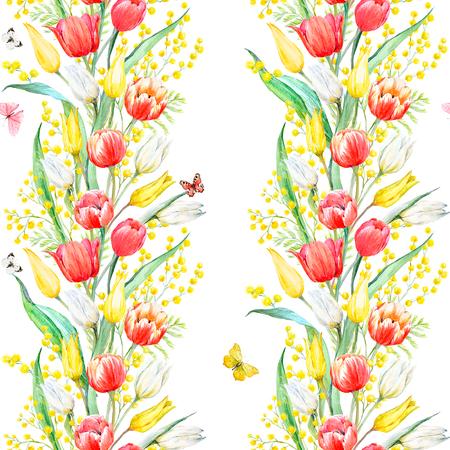 Waterverfmimosa en tulpenpatroon Stockfoto