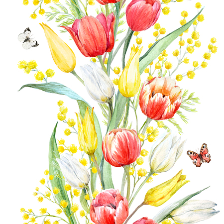 Watercolor mimosa and tulip pattern