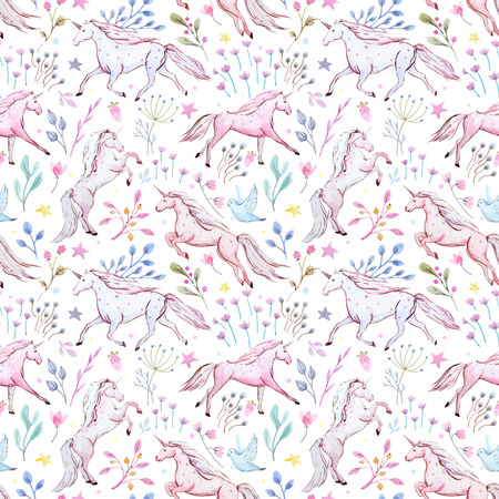 Watercolor unicorn vector pattern