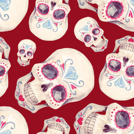 Watercolor skull seamless pattern 版權商用圖片