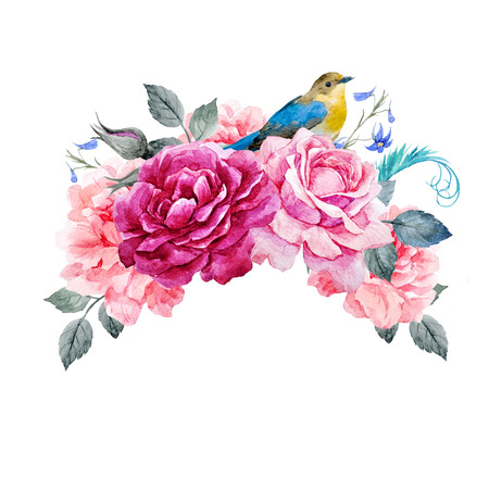 Floral composition with bird