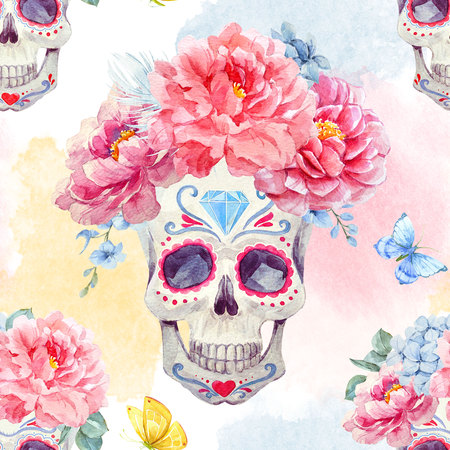 Watercolor skull seamless pattern Stok Fotoğraf