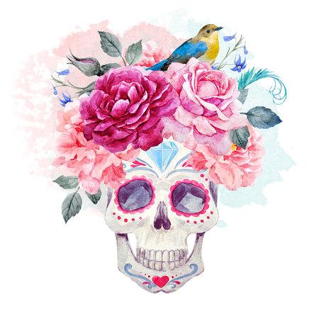 Nizza acquerello cranio Archivio Fotografico - 82731503