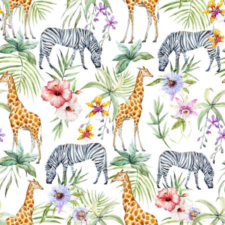 Tropical wildlife vector pattern