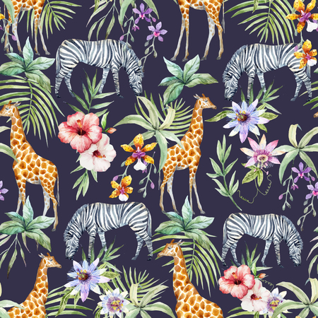 Tropical wildlife vector pattern