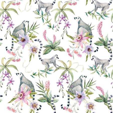 Tropisch wildlife vector patroon Stock Illustratie
