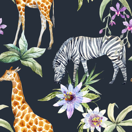 camelopard: Tropical wildlife vector pattern