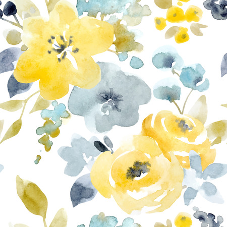 Watercolor floral vector seamless pattern