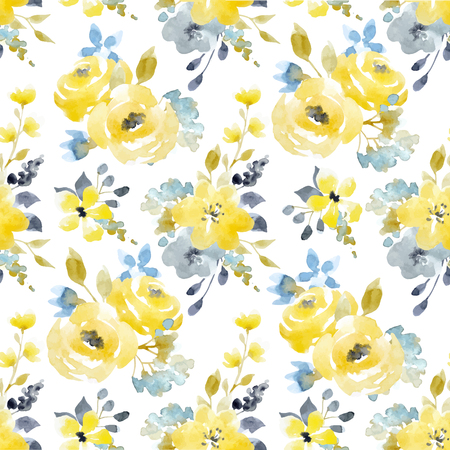 Watercolor floral vector seamless pattern Stock Vector - 82929269