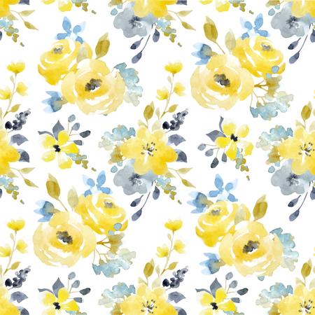 Acuarela floral vector patrón transparente