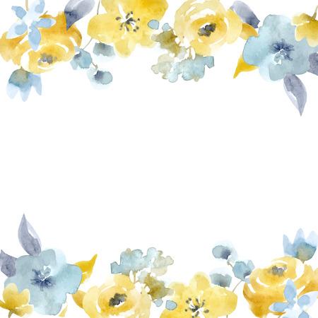 水彩花のベクトル フレーム