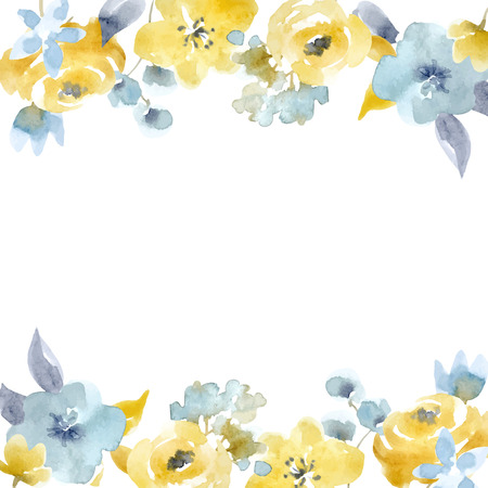 수채화 꽃 벡터 프레임