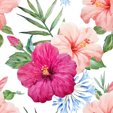 Watercolor tropical hibiscus vector pattern 向量圖像