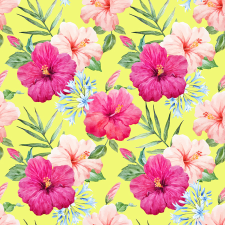 Watercolor tropical hibiscus vector pattern Illustration