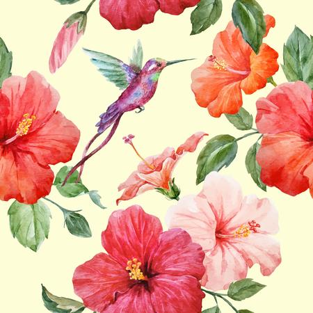 Watercolor tropical hibiscus vector pattern