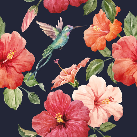 Seamless tropical vector pattern with watercolor hibiscus flowers