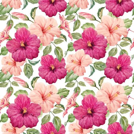 水彩のハイビスカスの花を持つ熱帯シームレス パターン  イラスト・ベクター素材