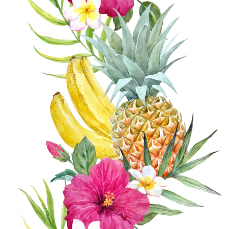 Watercolor tropical vector pattern Illustration