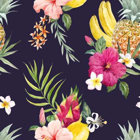 Watercolor tropical vector pattern Stock Photo