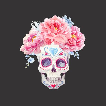 Nizza cranio vettore acquerello Archivio Fotografico - 83371965