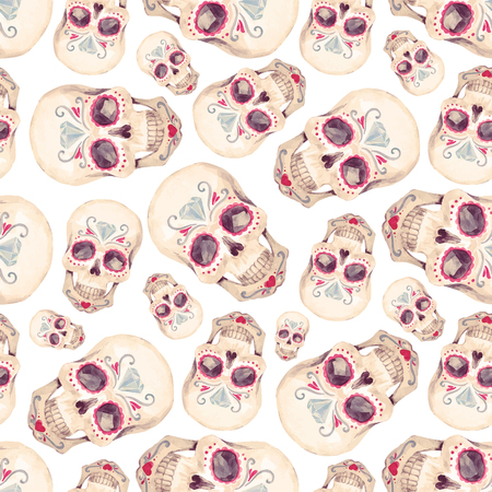 Watercolor skull seamless vector pattern