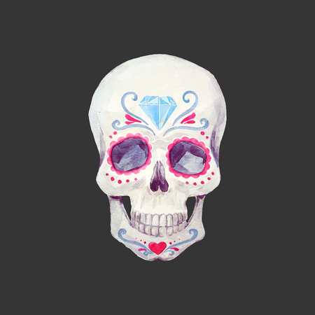 Nice watercolor vector skull Stok Fotoğraf - 83357048