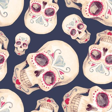 수채화 두개골 원활한 벡터 패턴