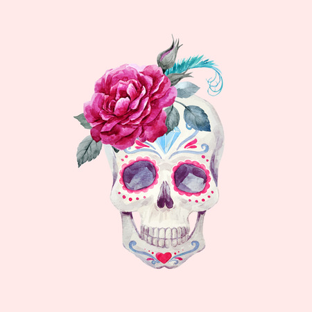 Nice watercolor vector skull Stok Fotoğraf - 83357053