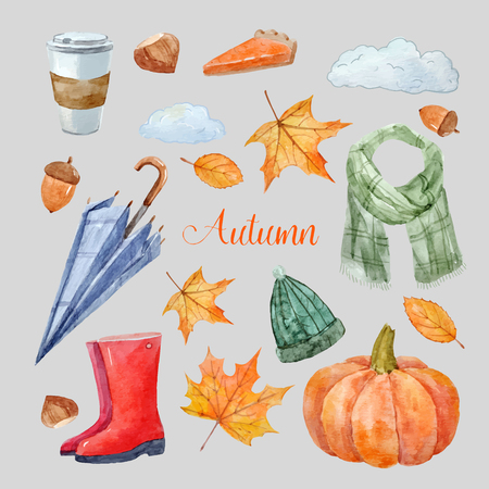 Beautiful vector set with watercolor autumn elements