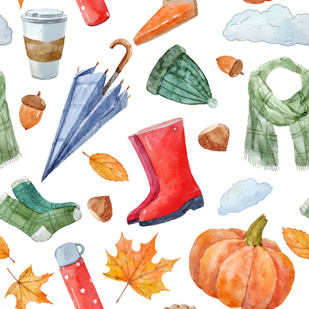 Beautiful seamless vector pattern with watercolor autumn elements Illustration