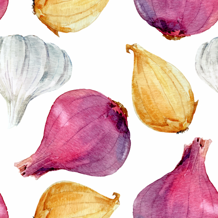 Watercolor onion vector pattern 向量圖像