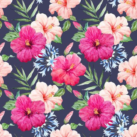 Watercolor tropical hibiscus pattern