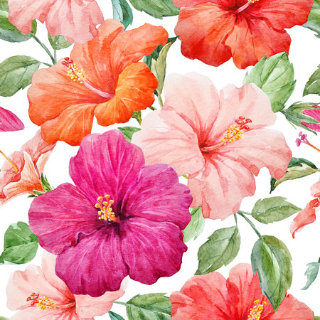Watercolor tropical hibiscus pattern