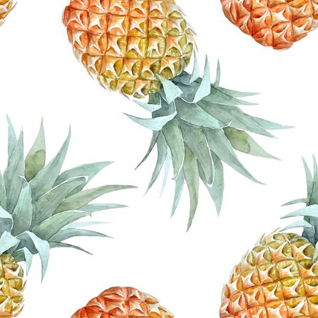 Watercolor tropical pineapple vector pattern Illustration