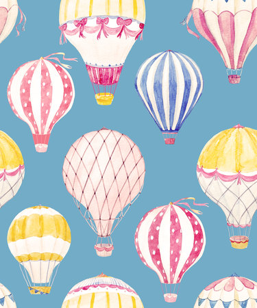 Watercolor air baloon pattern