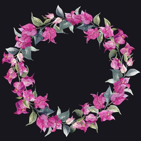 palm wreath: Watercolor floral wreath