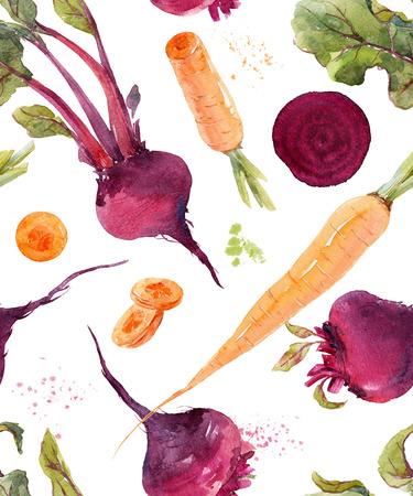 Watercolor beet pattern Stock Photo