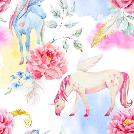 Watercolor vector unicorn and pegasus pattern