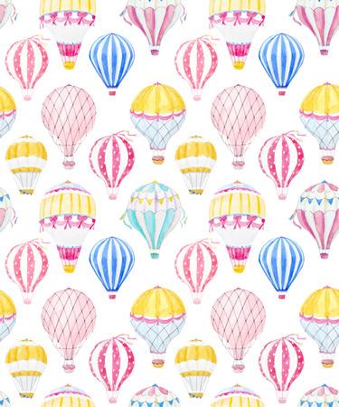Watercolor air baloon vector pattern