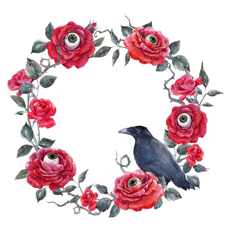 scaring: Watercolor floral halloween wreath