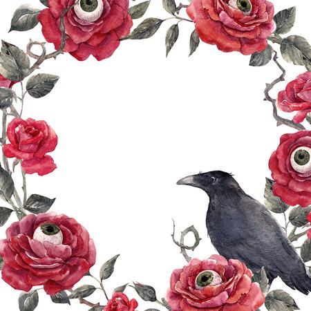 水彩画の花のハロウィンフレーム