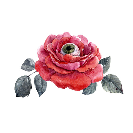 Watercolor halloween rose