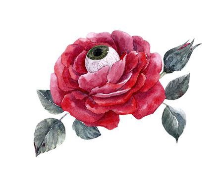 수채화 물감의 할로윈 장미