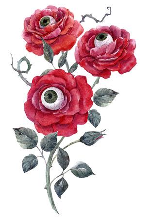Aquarell Halloween Rose Standard-Bild - 86492901