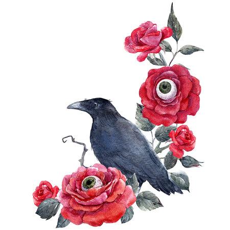 Watercolor halloween rose