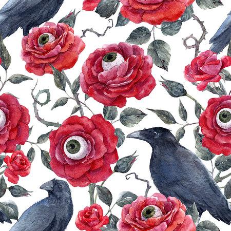 수채화 꽃의 할로윈 패턴