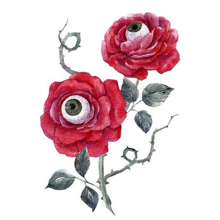 Aquarell Halloween Rose Standard-Bild - 85849308